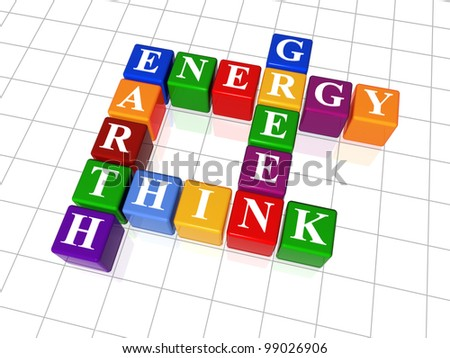 3d color cubes, crossword - energy, Earth, think, green