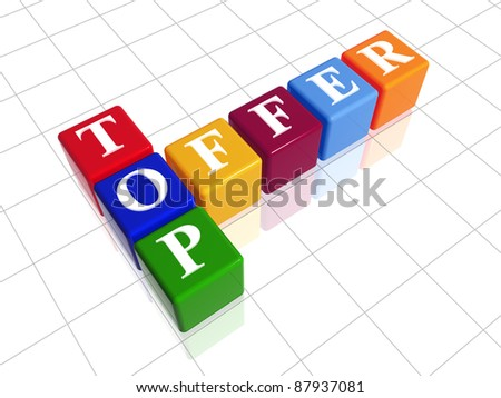 3d color cubes with white letters like crossword with text - top offer