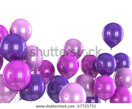 3d color helium balloon on white background