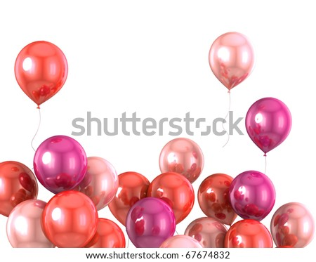 3d color helium balloon on white backround - stock photo