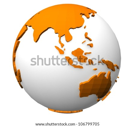3d color of the planet earth on white background
