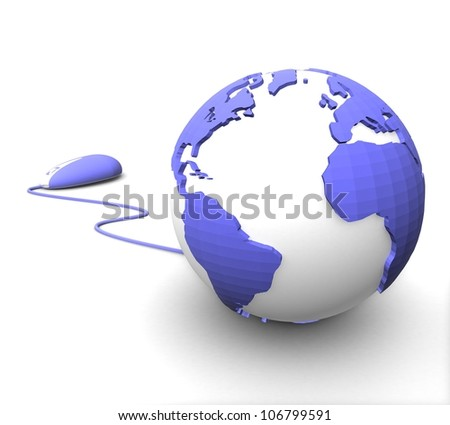 3d color of the planet earth with the bears on a white background