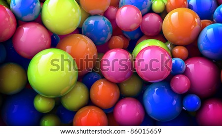 3D colored abstraction background with shperes