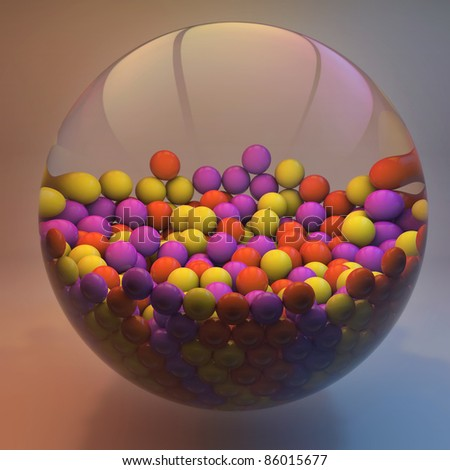 3D colored abstraction background with spheres