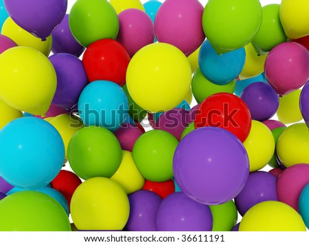 3d colored air baloons