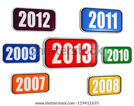 3d colored banners with figures - new year 2013 and previous years, business concept