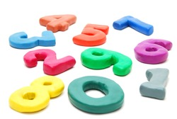 3d Colored Digits Made of Plasticine Laing Random Isolated on White Background
