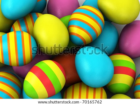 3d Colored Easter Eggs  on white background - stock photo