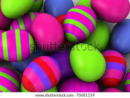 3d Colored Easter Eggs  on white background