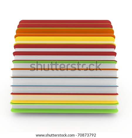 3d colored folders isolated on white