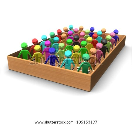 3d colored people in a wooden box on a white background
