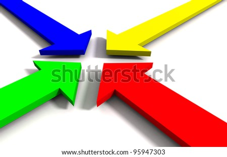 3d colorful arrows - stock photo