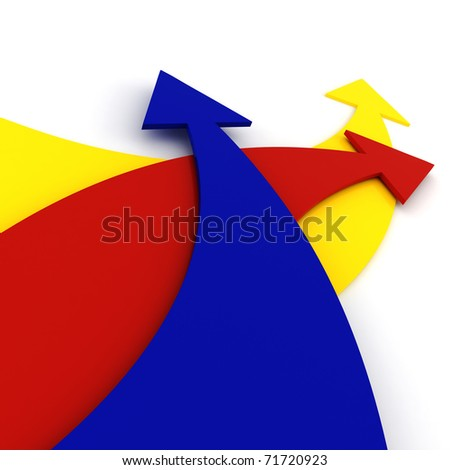 3d colorful arrrows, on white background
