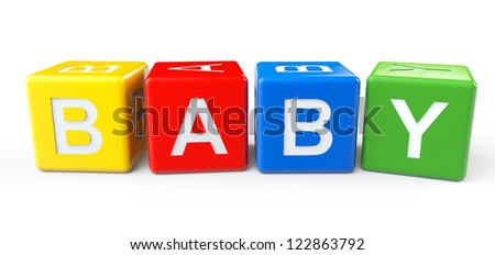 3d colorful blocks with baby sign on a white background