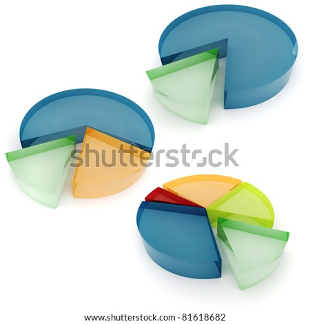 3d colorful business graph, on white background