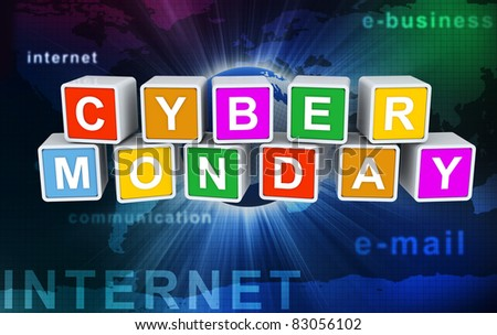 3d colorful buzzword 'cyber monday' on background of abstract internet wallpaper