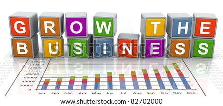 3d colorful buzzword series - text 'grow the business'