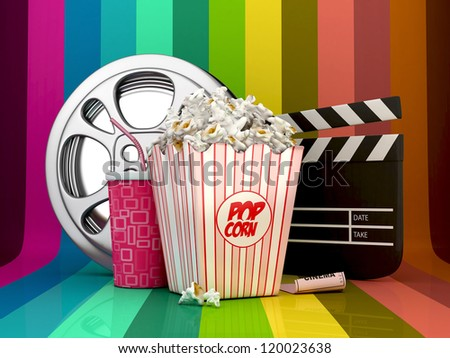 3D Colorful Cinema concept-pop corn,film reel,clapper board,drink and ticket object