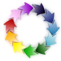 3d colorful circular arrows