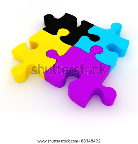 3d colorful CMYK puzzle on white background