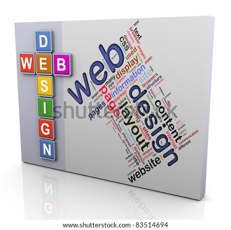 3d colorful crossword and wordcloud of text 'web design'