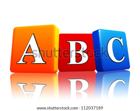 3d colorful cubes with letters abc with reflection