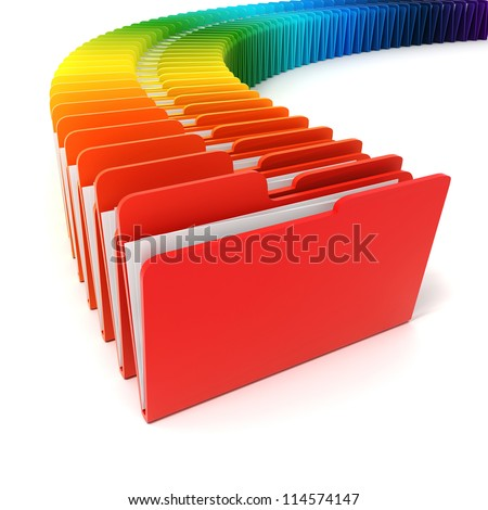 3d colorful folders on white background