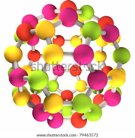 3D colorful fullerene molecular structure