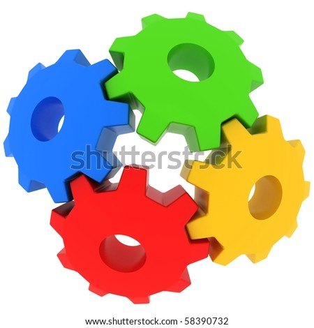 3d colorful gears on white background