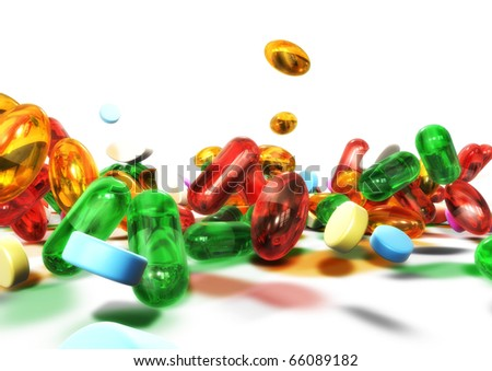 3d colorful pills isolated on white background