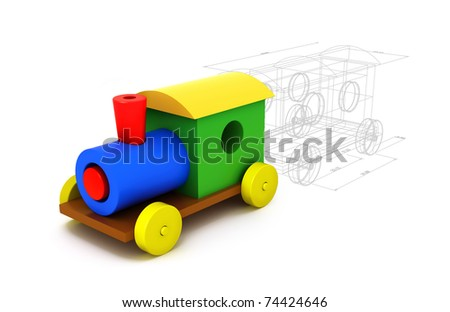 3d colorful plastic train isolated on white background. From childhood to adulthood concept