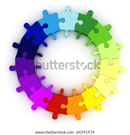 3d colorful puzzle chart wheel