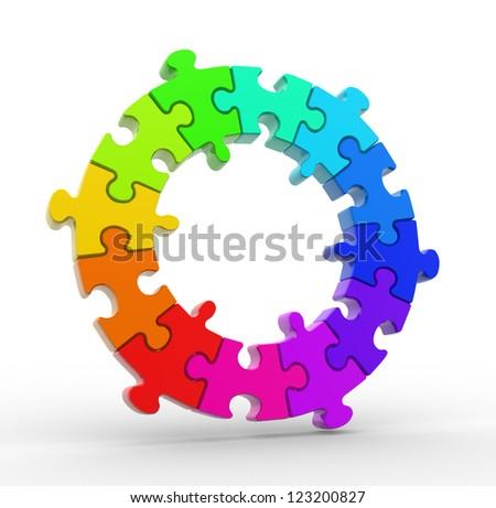 3d colorful puzzle chart wheel. 3d render