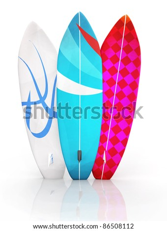 3D colorful surfboards - isolated over a white background