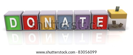 3d colorful text 'donate' with donation box