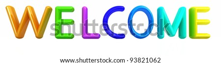 "3d colorful text ""welcome"""