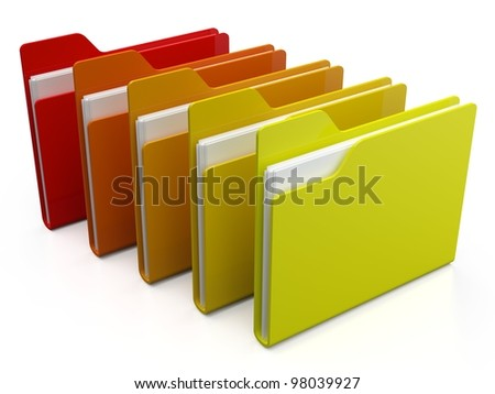 3d colorfull folders, on white background