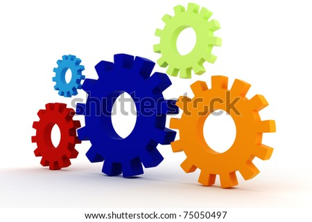 3d colorfull  gears wheel on white background