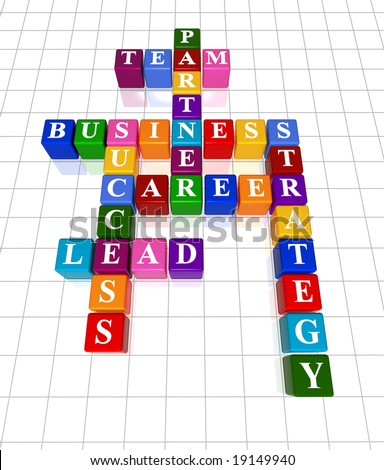 3d colour boxes crossword - partner, team, business, success, career, lead, strategy
