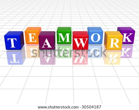 3d colour cubes with text teamwork word with reflection stock