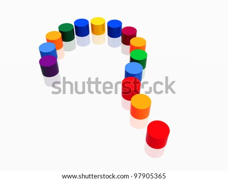 3d colour cylinders arranged like question-mark