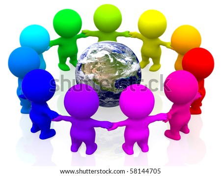 3D colourful people making a circle around the world - isolated over white