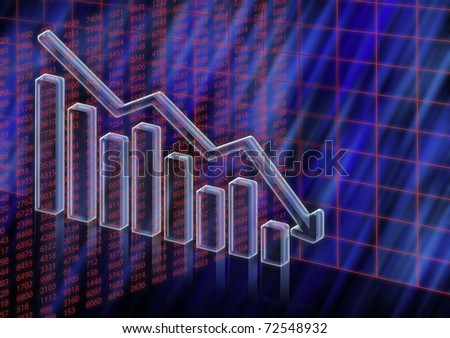 3D columns and numeric illustration of stock value decreasing