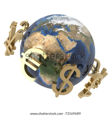 3d computer generated image of gold currency symbols around a globe isolated on white background