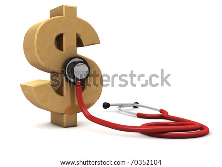 3d computer generated red stethoscope around a gold dollar symbol  isolated on white background