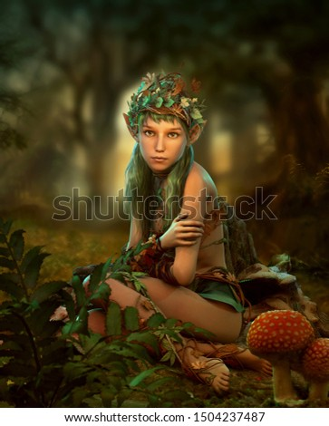 3d computer graphics of a  forest fairy with a headgear of leaves