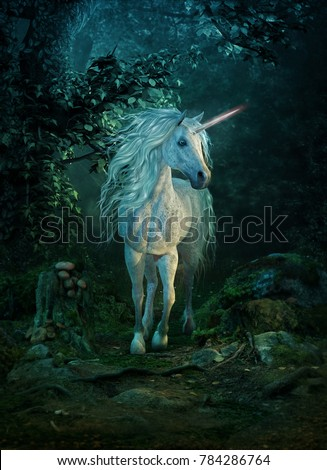3d computer graphics of a mythical unicorn on a path in the forest