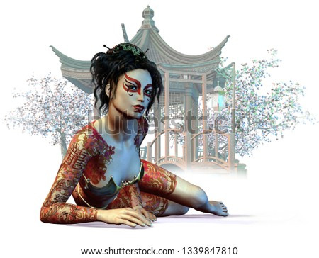 3d computer graphics of a young tattoed Asiatic lady, blooming cherry trees and a Asiatic pavilion in the background