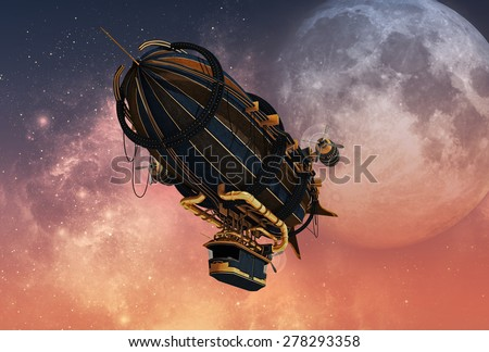 3d computer graphics of a Zeppelin in Steampunk style
