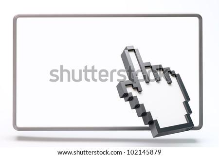 3D computer hand cursor clicking a blank screen